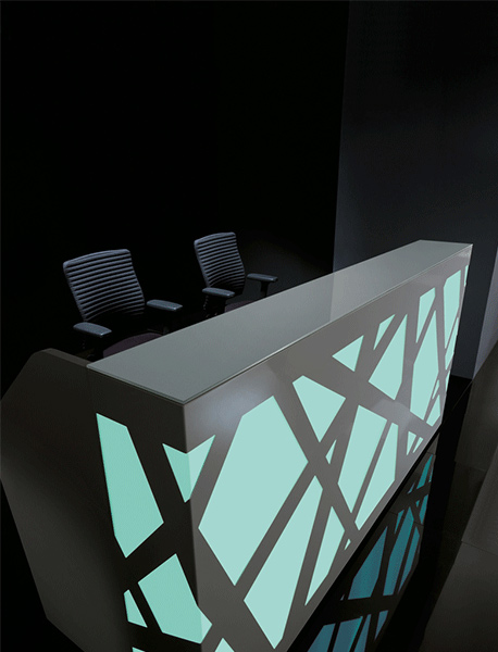 reception counter zigzag blue black stylish reliability personality design interlacing structure artful blend plexiglass comfort versatile backlighting office workplace function masof