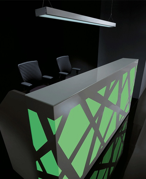 reception counter zigzag green black stylish reliability personality design interlacing structure artful blend plexiglass comfort versatile backlighting office workplace function masof
