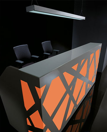 reception counter zigzag red black stylish reliability personality design interlacing structure artful blend plexiglass comfort versatile backlighting office workplace function masof