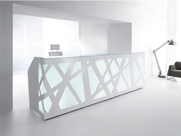 reception counter zigzag white stylish glass top reliability personality design interlacing structure artful plexiglass comfort versatile backlighting perfection function masof