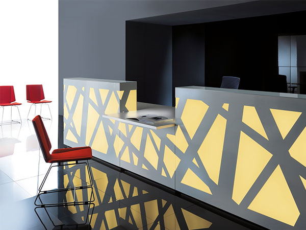 reception counter zigzag yellow black stylish reliability personality design interlacing structure artful blend plexiglass comfort versatile backlighting office workplace function masof