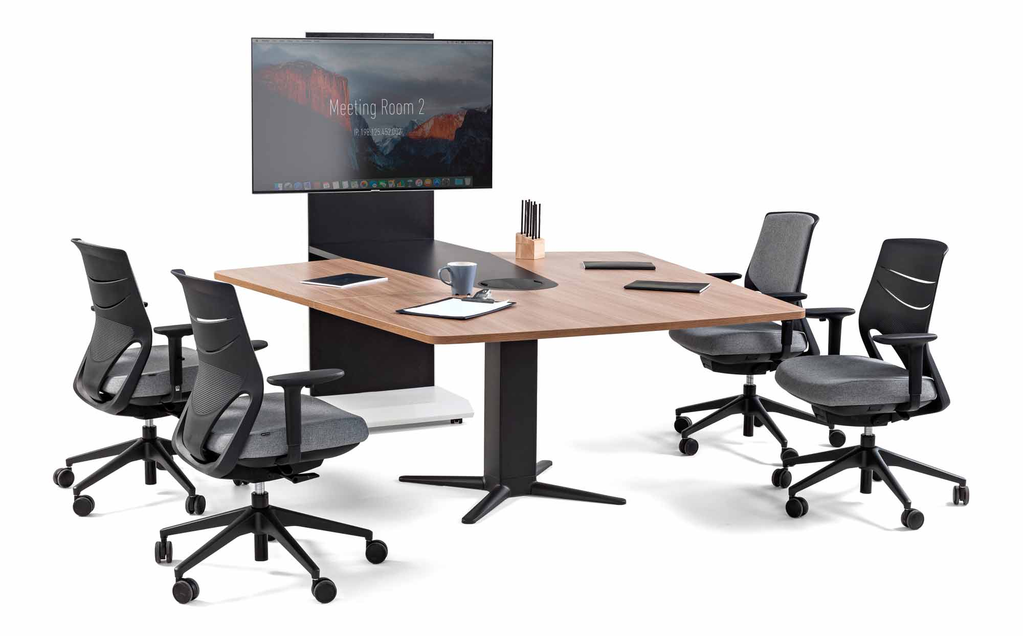 desk power executive operative video conference meeting tables efit chair black grey technology highclass design modern adjustable quality style excellence masof actiu