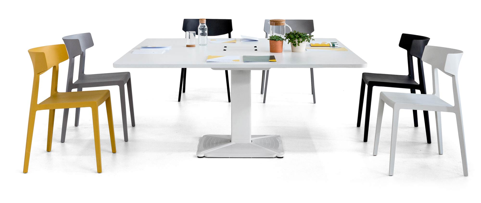 desk power meeting conference tables support swing chair white black yellow comfort technology design organization adjustable versatile workplace quality excellence masof actiu