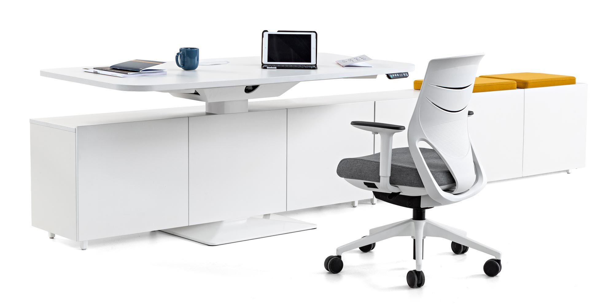 desk power tables personal cabinets storage combination efit chair white grey armrest tablet coffecup books synchrony technology design adjustable quality adaptable masof actiu
