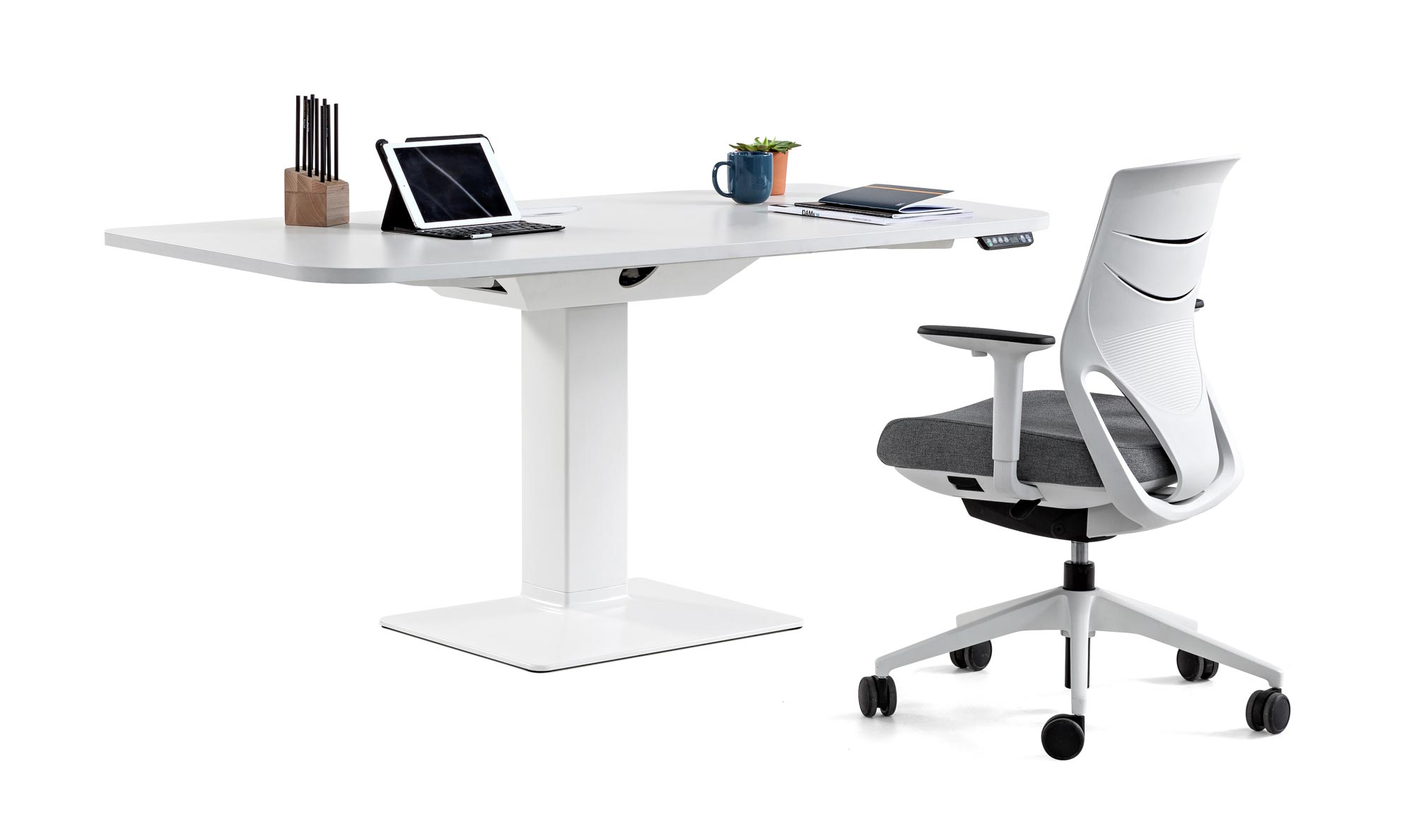 desk power tables personal efit chair white grey armrest comfort tablet coffecup books plant synchrony technology mobility design adjustable quality adaptable masof actiu
