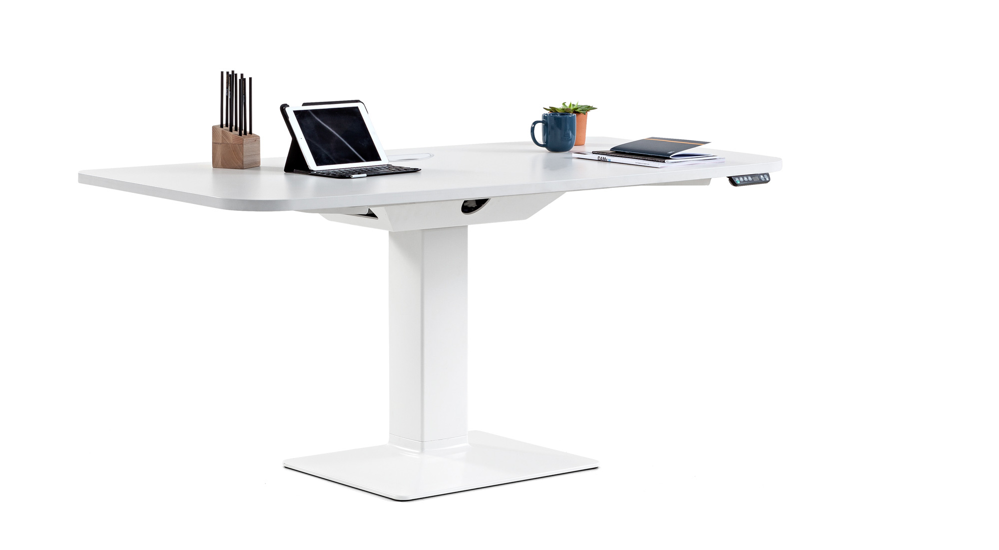 desk power tables personal professional height fixedheight comfort tablet coffecup books synchrony technology advanced mobility design adjustable quality adaptable masof actiu