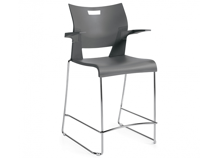 chair duet black meeting dining steel leg armrest backrest simple easy store high density stackable solid frame chrome comfort smooth variety upholstered masof globalfurniture