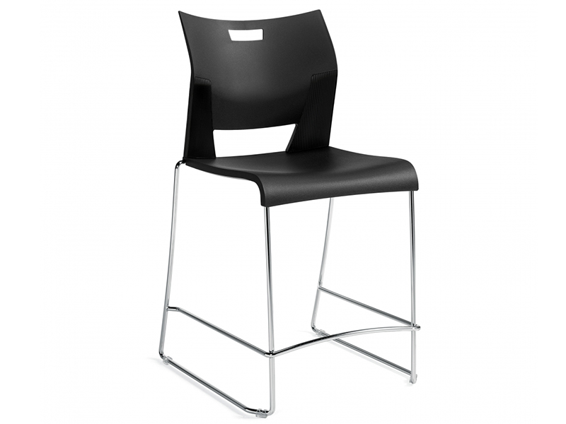 chair duet black meeting dining steel leg simple easy store high density stackable solid frame chrome comfort smooth variety polypropylene upholstered masof globalfurniture