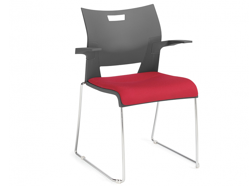 chair duet black red colors meeting dining steel leg armrest backrest simple easy store quality stackable solid frame chrome comfort variety multipurpouse masof globalfurniture