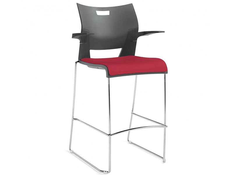 chair duet black red meeting dining steel leg armrest backrest simple easy store high density stackable solid frame chrome comfort variety multipurpouse masof globalfurniture
