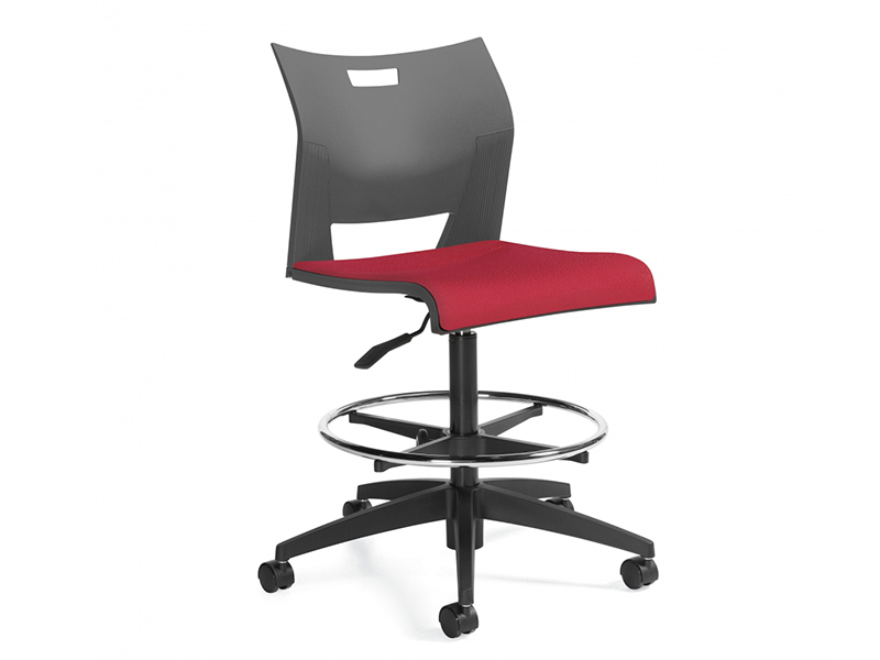 chair duet black red wheelded padded meeting dining simple easy store high density stackable solid frame chrome comfort variety executive multipurpouse masof globalfurniture