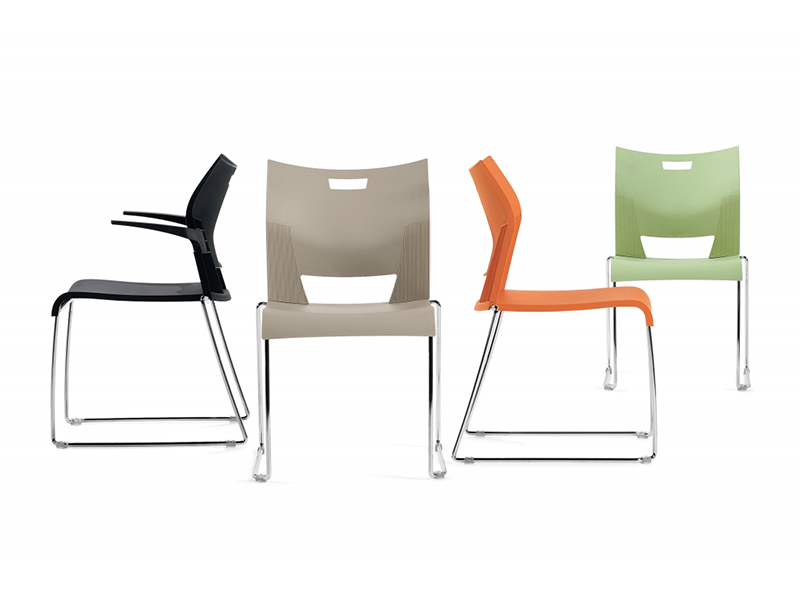 chair duet colors black beige orange green meeting dining simple easy store all sizes stackable solid frame chrome smooth comfort variety multipurpouse masof globalfurniture