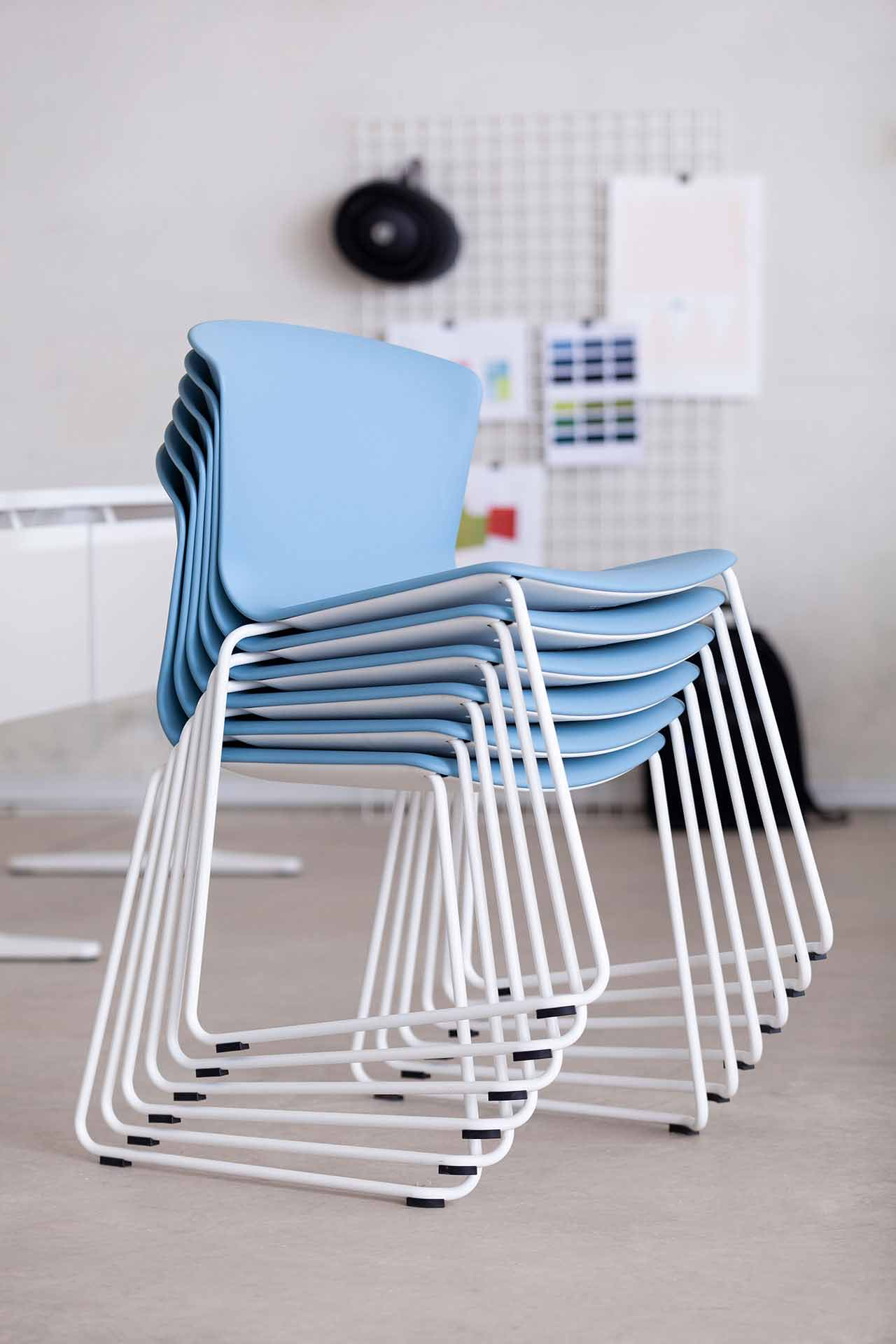 chair whass blue backrest armless stackable light weight assertive meeting appealing design variable functional efficient support elegant masof actiu