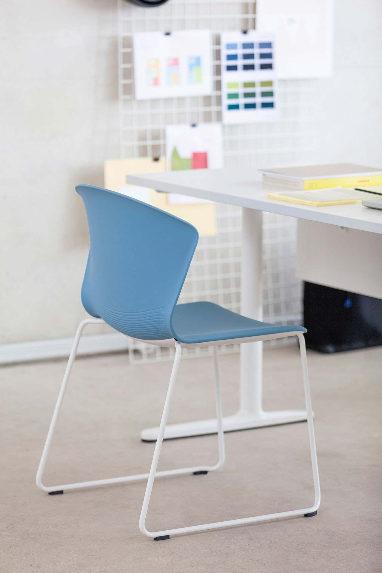 chair whass blue backrest armless talent desk assertive meeting organization appealing design variable functional efficient support elegant masof actiu