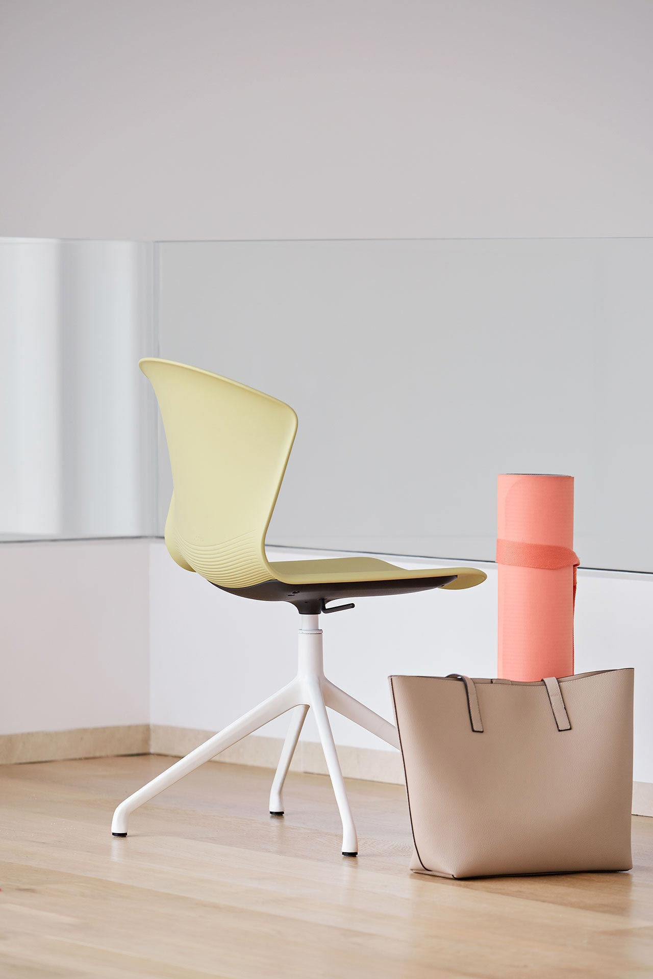 chair whass yellow backrest armless strong legs assertive meeting dining spaces appealing design variable functional efficient comfy elegant masof actiu