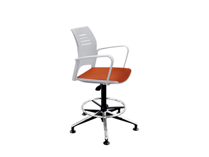 office chair task spacio white orange colorful wheelded padded fitting delicate casual meeting conference soft perspiration functional ergonomic multipurpose seating flexibility masof actiu