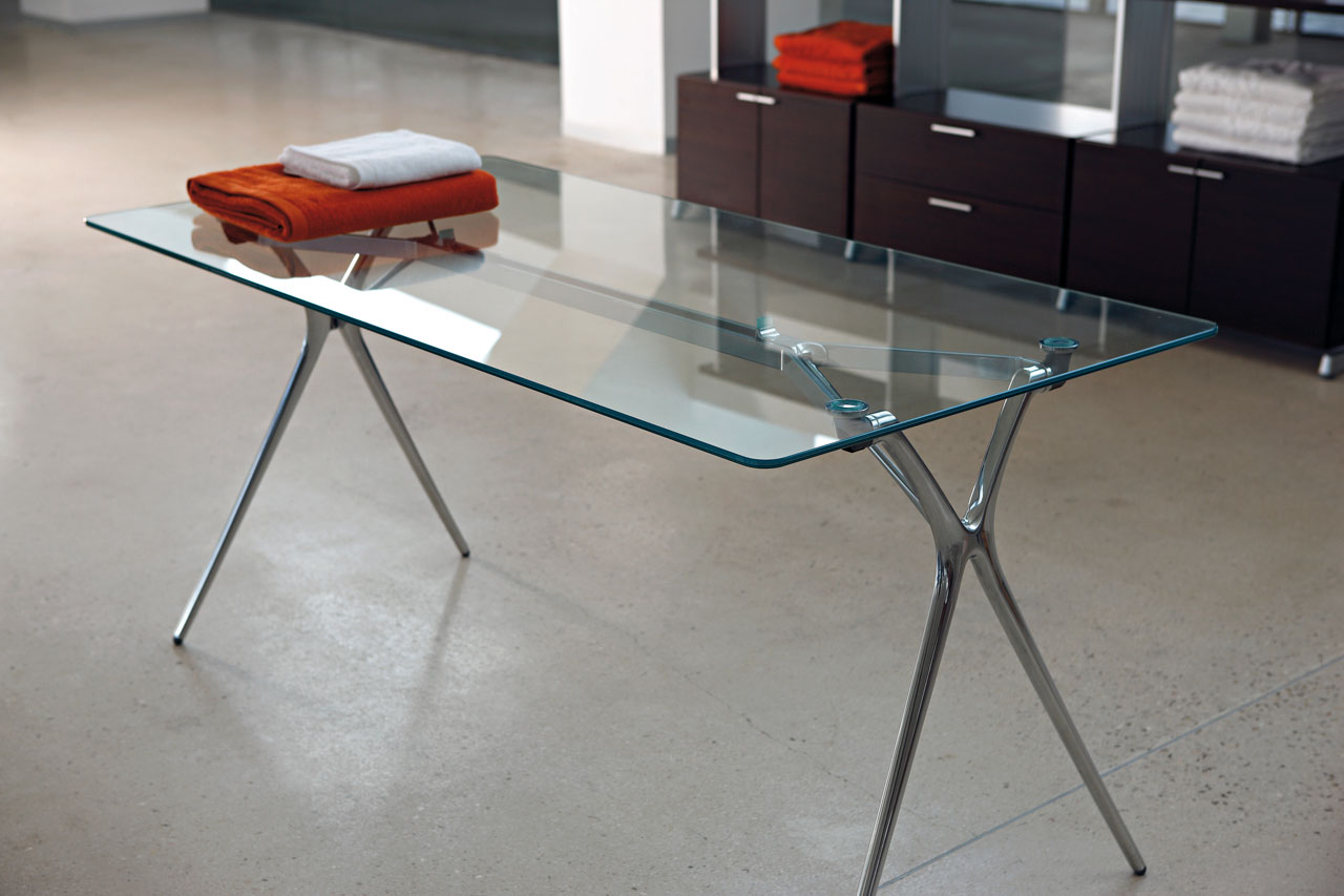 desk plek tables folding glass aluminum legs multipurpose home personal mobile transportable adaptable technology durability modern design masof actiu