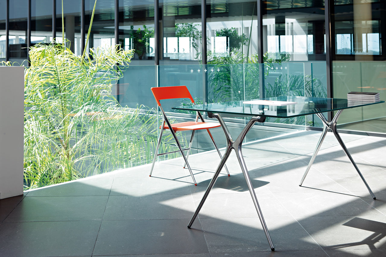 desk plek tables folding glass chair orange aluminum legs multipurpose office personal mobile transportable adaptable technology durability modern design masof actiu