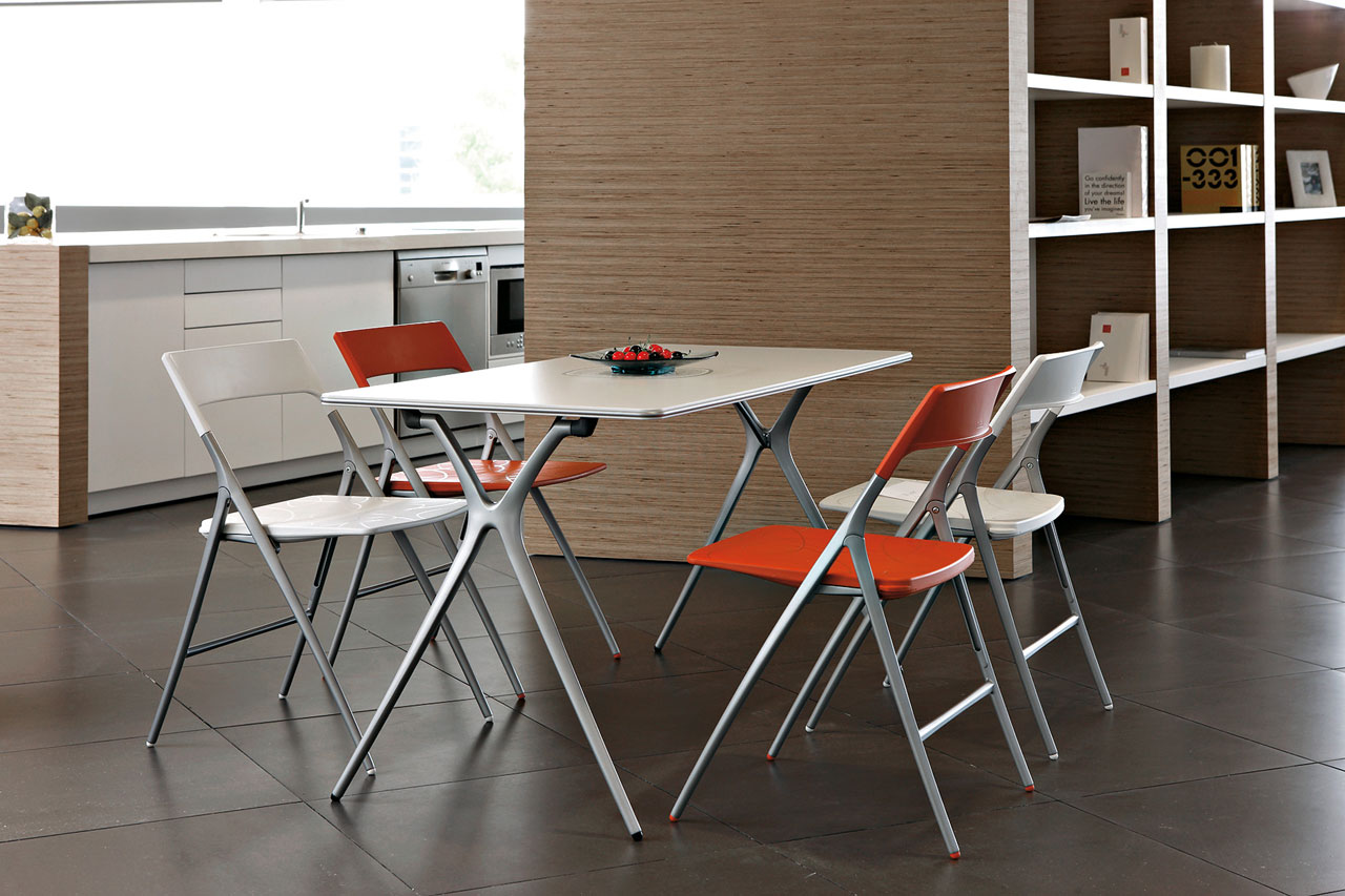 desk plek tables folding polished chair orange white aluminum legs multipurpose home personal dinner mobile transportable adaptable durability modern design masof actiu