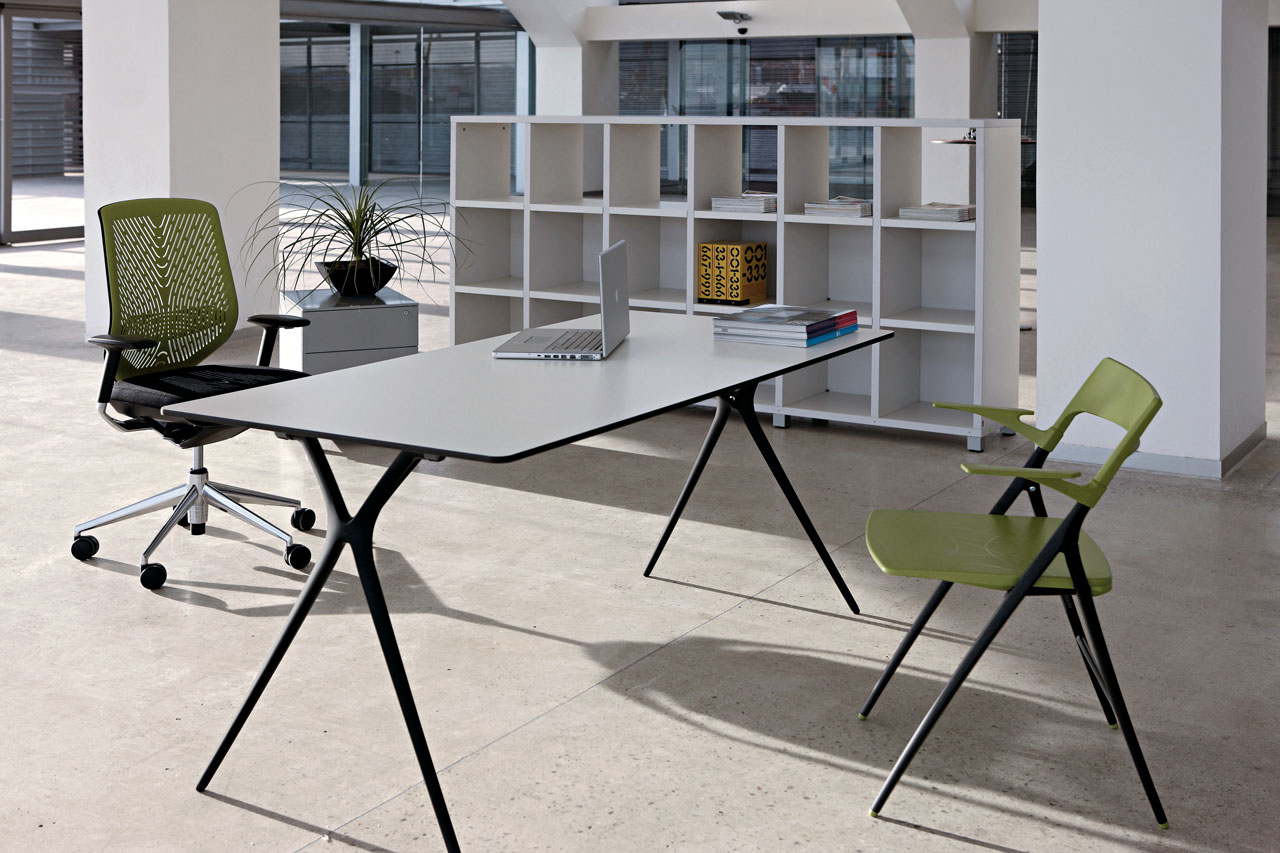 desk plek tables folding polished tnk chair green black aluminum legs multipurpose epoxy office quality beauty clean lines mobile transportable adaptable masof actiu