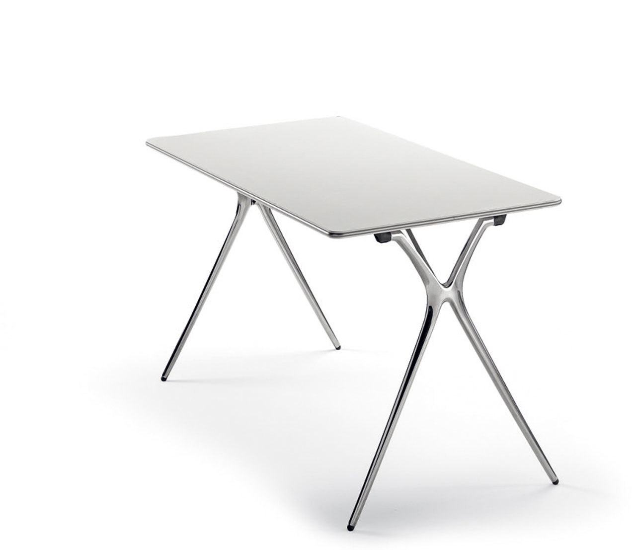 desk plek tables folding polished white aluminum legs multipurpose epoxy silver quality beauty clean lines dynamic light mobile transportable adaptable masof actiu