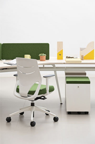 desk twist gen paradigm efit white green colors workplace cabinets seats organization technology system robust adaptable organic innovative modern aesthetic quality masof actiu