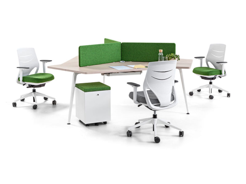 desk twist gen paradigm efit white green grey colors workstation cabinets seats organization technology system adaptable organic innovative modern aesthetic quality masof actiu