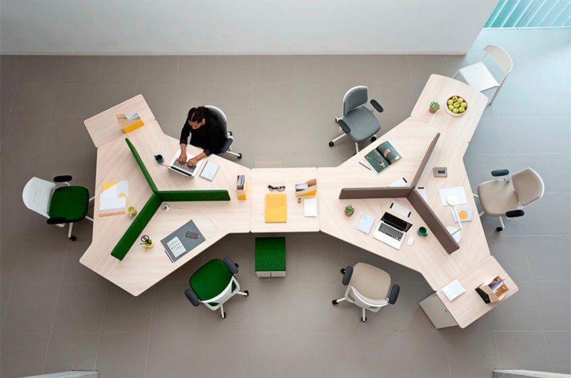 desk twist gen paradigm efit white grey green colorful configuration workspace organization technology operative connecting communication organic innovative modern masof actiu