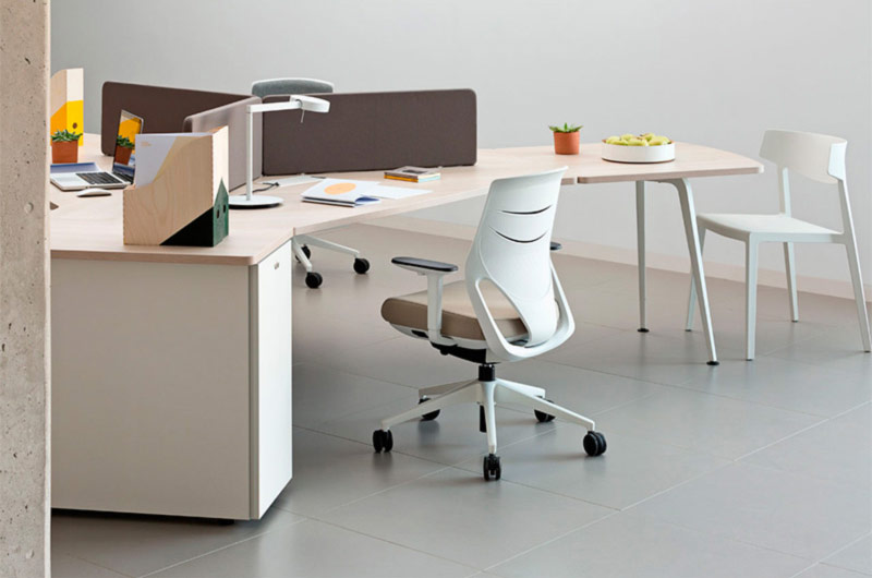 desk twist gen paradigm tables white brown cabinets efit swing chair technology system adaptable unique connecting contemporary office new organic aesthetic concept masof actiu