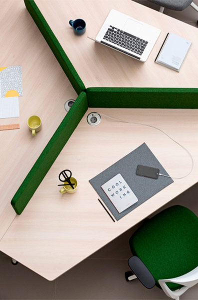 desk twist gen paradigm zoom efit white green colorful configuration charging station closeness organization technology operative connecting organic innovative modern masof actiu