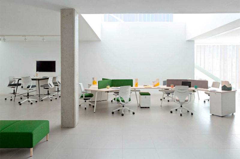 desk twist gen vital paradigm efit white grey green colors workplace design technology operative connecting contemporary organic innovative modern aesthetic quality masof actiu