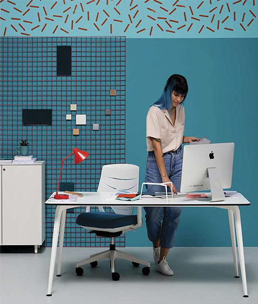 desk twist individual tables white blue efit style storage mac computer technology system style structure contemporary office modern organic aesthetic optimization masof actiu