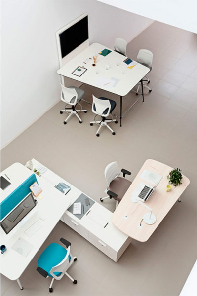 desk twist spine tables cabinets white video conference executive configuration technology system adaptable contemporary office workspace workstation modern connect masof actiu