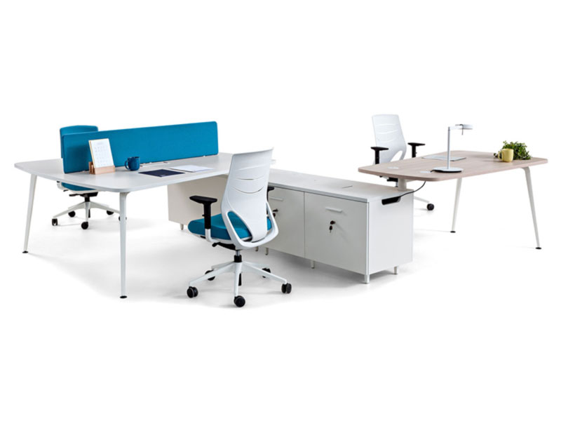 desk twist spine tables white blue colorful cabinets technology system adaptable unique connection contemporary modern organic aesthetic workstation optimization masof actiu