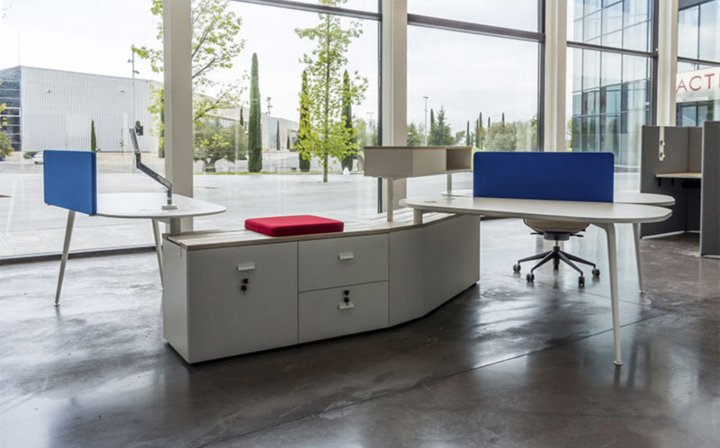 desk twist spine tables white blue colorful cabinets technology system adaptable unique connection contemporary office modern organic aesthetic concept optimization masof actiu