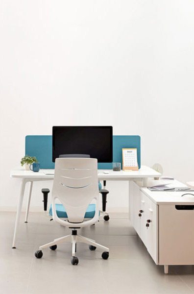 desk twist spine tables white blue efit cabinets technology system style structure contemporary office workplace modern organic aesthetic connecting optimization masof actiu