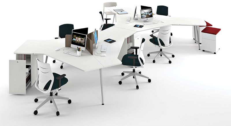desk twist spine tables white efit chair white green red cabinets technology system adaptable structure contemporary office design organic connecting optimization masof actiu