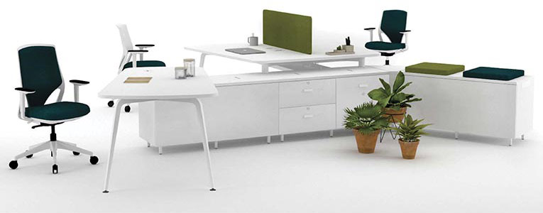 desk twist spine tables white green colorful cabinets seats seating technology system adaptable unique connection contemporary modern organic aesthetic optimization masof actiu