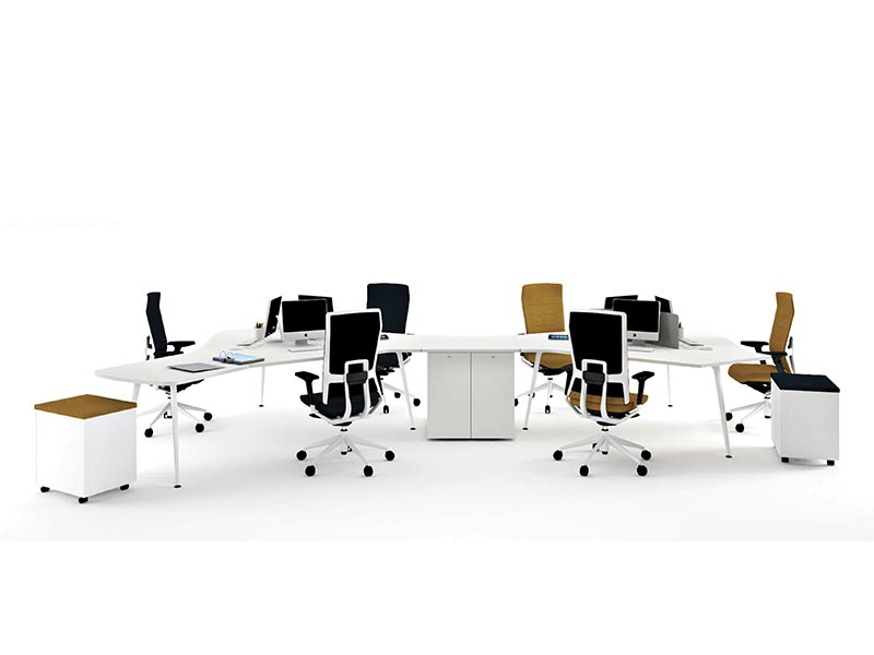 desk twist spine tables white mustard tnkflex chair black cabinets technology system adaptable structure contemporary office modern organic connecting optimization masof actiu