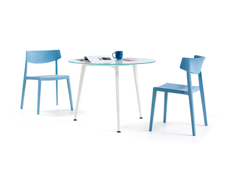 desk twist tables glass rounded white swing chair babyblue organization technology design adaptable contemporary meeting coffe organic aesthetic style optimization masof actiu