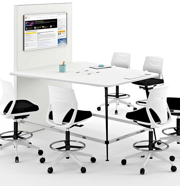desk twist tables white conference efit chair black closeness technology connectivity adaptable contemporary office meeting workspace organic efficent optimization masof actiu