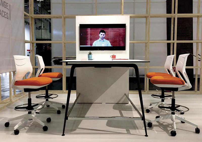desk twist tables white video conference efit chair orange cabinets technology system adaptable contemporary office meeting workspace organic aesthetic optimization masof actiu